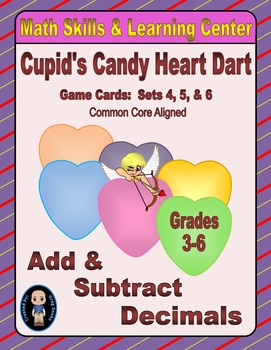 Candy Heart Dart Game Cards (Add & Subtract Decimals) Sets 4-5-6