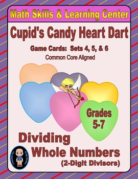 Candy Heart Dart Game Cards (Division with 2-Digit Divisor