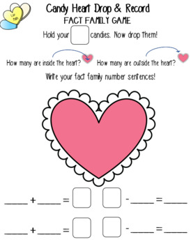 Candy Heart Drop & Record Games for Addition, Subtraction, & Fact Family Fluency