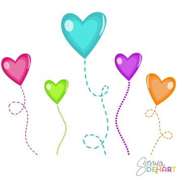 Clipart - Candy Heart Flowers on Stems Clip Art FREE
