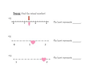 Candy Heart Fractions on Number Lines - Follow Your Heart!
