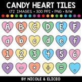 Candy Heart Letter and Number Tiles Clipart