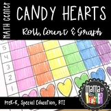 Math Center: Roll, Count & Graph, Candy Hearts, Valentine's Day {Prek-1}