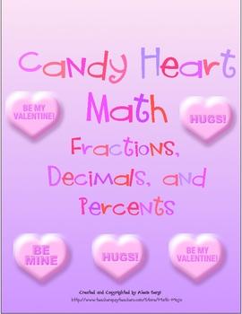 Candy Heart Math - Fractions, Decimals, and Percents