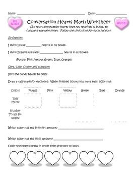 Candy Heart Math Worksheet