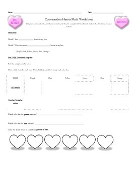 Candy Heart Math Worksheet-Primary