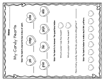 Candy Heart Math for Pre-K and Kindergarten