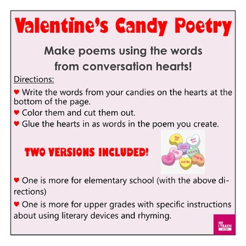 Candy Heart Poetry - Create poems with words from candy! Valentine's Day