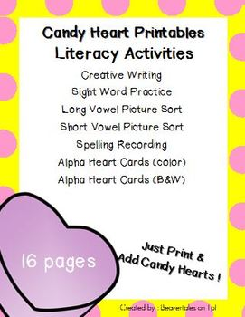 Candy Heart Printables : Valentine's Day Literacy & Math Activities