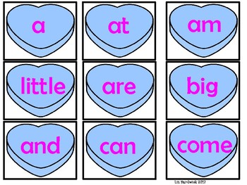 Candy Heart Sight Word Match and Color