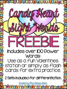 Candy Heart Sight Words - FREEBIE - VALENTINES Sight Words