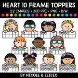 Candy Heart Ten Frame Kid Toppers Clipart