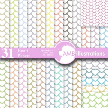 Digital Papers, Valentines Candy Hearts Digital Paper and backgrounds, AMB-329