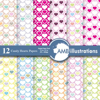 Digital Papers,Valentines Hearts Digital Paper, Valentines Day, AMB-328