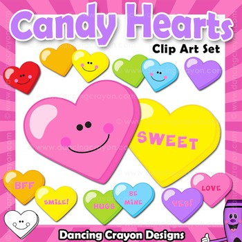 Candy Hearts Clip Art | Conversation Hearts