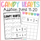 Candy Hearts Addition Frames   Sums 11-20   Valentine's Day Mini Eraser Math Act