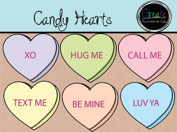 Candy Hearts - Digital Clipart