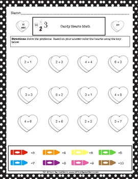 Valentine's Day Math Coloring Worksheet: Addition 2