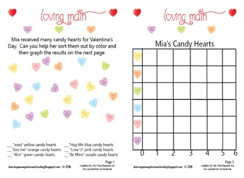 Candy Hearts Math Graphing Worksheets - Valentine's Day Theme