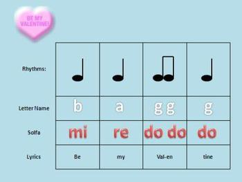Candy Hearts Rhythm, Solfa, and Recorder Activity