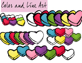 Candy Hearts Valentines Day Clip Art Full 31 Piece Set