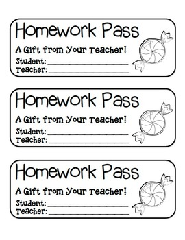 """Candy"" Homework Pass –Holiday FUN! (full color & black line version)"