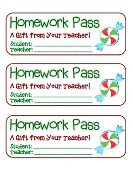 """""""Candy"""" Homework Pass –Holiday FUN! (full color version)"""
