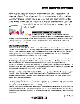 Candy Icebreaker Introduction Memoir Lesson with Model Text