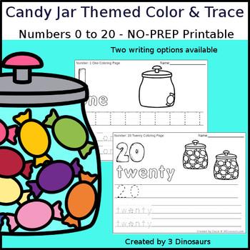 Candy Jar Themed Number Color and Trace