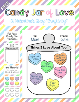 Candy Jar of Love FREEBIE - A Valentine's Day Craftivity