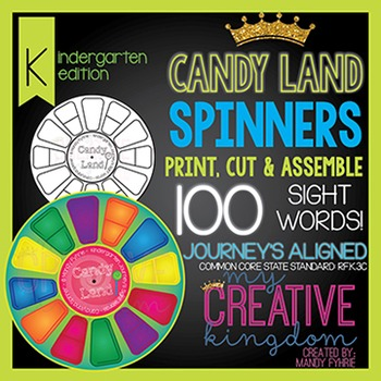 Candy Land 100 Sight Word Spinners - Journey's Aligned
