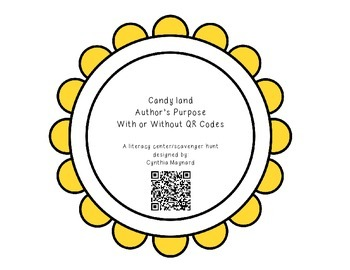 Candy Land Author's Purpose with QR Codes Literacy Center/ Scavenger Hunt
