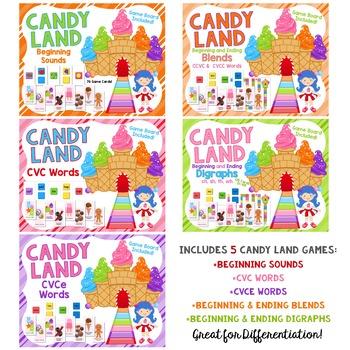 Candy Land BUNDLE:  Beginning Sounds, CVC, CVCe, Blends and Digraphs