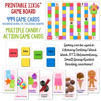 graphic relating to Printable Candyland Cards titled Sweet Land Offer: Setting up Seems, CVC, CVCe, Blends and Digraphs