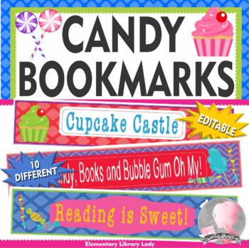 Candy Land Candyland Bookmarks, Shelf Markers or Desk Name Plates - EDITABLE