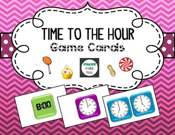 Time to the Hour Candy Land Game Cards