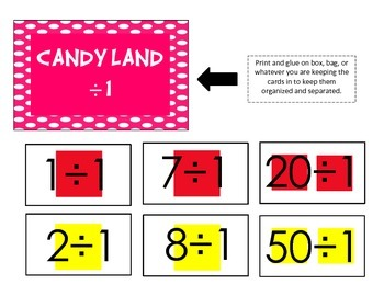 Candy Land Division Cards (1-6)