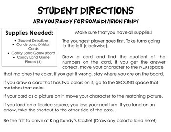 Candy Land Division Cards (7-12)