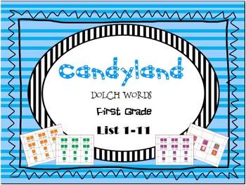 CANDYLAND First Grade Dolch List 1-11 Card Bundle(Leveled)