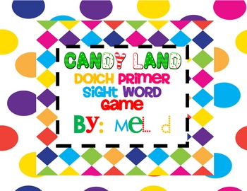 Candy Land Dolch Primer Sight Word Game
