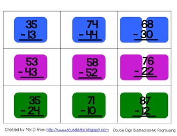 Candy Land Double Digit Subtraction (No Regrouping)