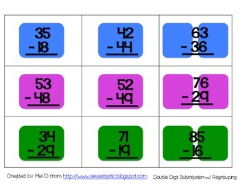 Candy Land Double Digit Subtraction (w/ Regrouping)