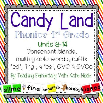 Candy Land: Consonant blends, CVC, CVCe, multisyllabic words, & suffixes!