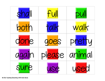 Candy Land: Second Grade Trick Words