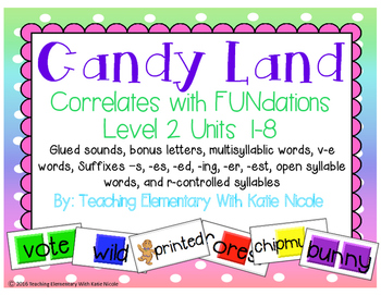 Candy Land: glued sounds, bonus letters, multisyllabic words, v-e words, & more!