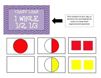 Candy Land Fraction Cards (1 whole-sixths)
