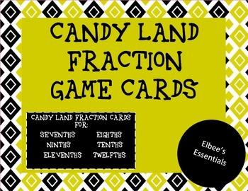 Candy Land Fraction Cards (sevenths-twelfths)