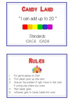 Candy Land - Fun Math Folder Game - Adding 10 to 20 - Common Core Aligned