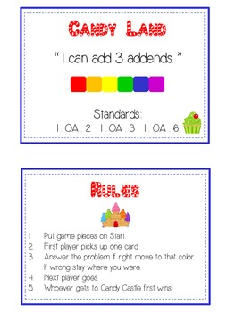 Candy Land Fun Math Folder Game Adding 3 Three Parts Addends Common Core Aligned