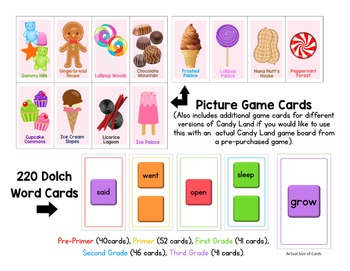 Candy Land Game - Dolch Sight Words Bundle: All 220 Dolch Sight Words